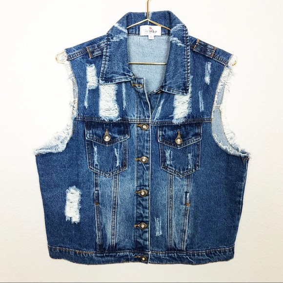 S Size Top by Zip-Zag New York Woman/'s Striped Denim Vest Button Front